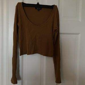 Topshop Brown Ribbed Long Sleeve Crop Top